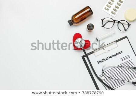 orvosi · tárgyak · kék · tabletták · háttér · gyógyszer - stock fotó © lana_m