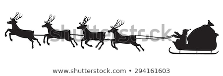 Slee herten kerstman winter bos Stockfoto © liolle