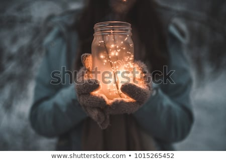 vrouw · christmas · licht · guirlande · portret · jonge - stockfoto © artjazz