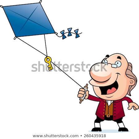 Cartoon Ben Franklin Kite Stock photo © cthoman