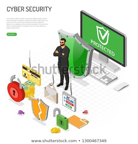хакер деятельность изометрический преступление сидят таблице Сток-фото © -TAlex-