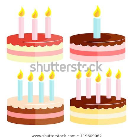 счастливым детей еды именинный торт вектора изолированный Сток-фото © pikepicture