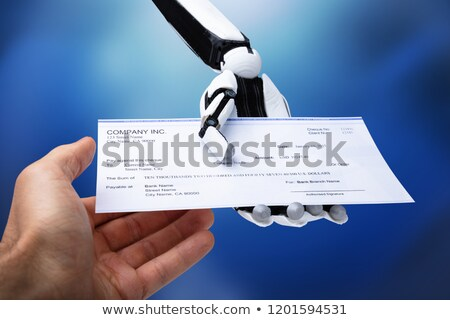Robotic Hand Giving Cheque To Person Stock photo © AndreyPopov