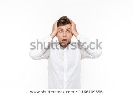 Retrato nervoso homem cara confusão estresse Foto stock © deandrobot