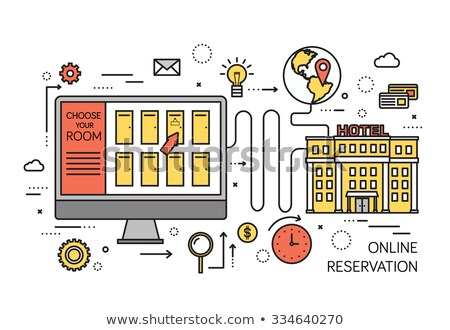 Thin line online reservation modern illustration concept. Infographic guide way from website to the  Stock photo © Linetale