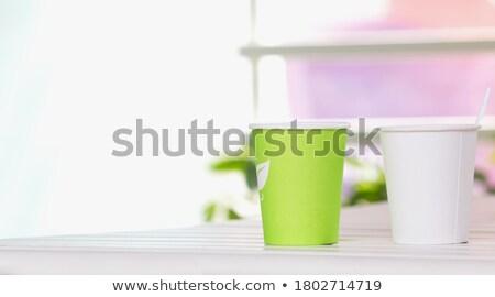 Stock fotó: Kávéscsésze · izolált · fényes · szalag · barna · konténer