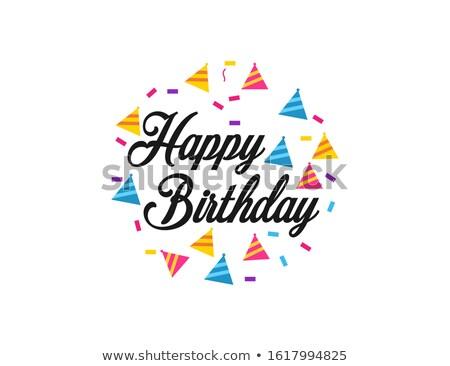 cone paper hats happy birthday postcards holiday stock photo © robuart
