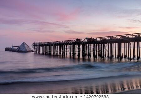 Naplemente móló hajóroncs tengerpart mikulás Kalifornia Stock fotó © yhelfman