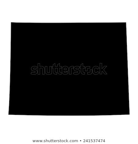 ワイオミング州 · 地図 · 黒 · 米国 - ストックフォト © kyryloff