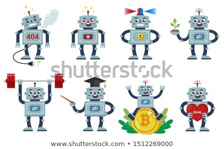 cartoon angry teacher robot stock photo © cthoman