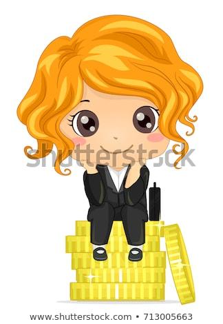 Criança menina moedas de ouro negócio sonho ilustração Foto stock © lenm