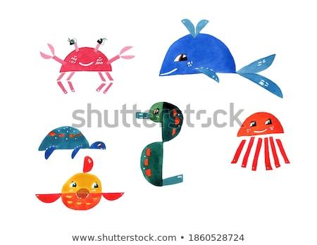 геометрический морем животного набор Сток-фото © izakowski