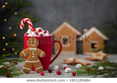 Noël · chocolat · chaud · guimauve · haut · vue - photo stock © karandaev