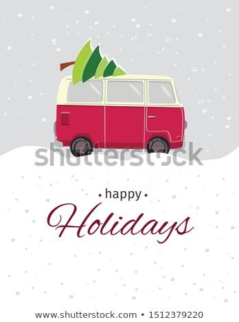 vektor · karácsony · házhozszállítás · teher · teherautó · eps8 - stock fotó © mechanik