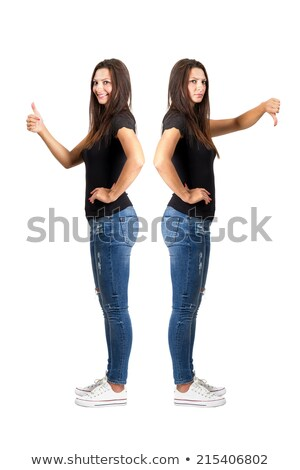image of two different girls showing thumb up and down isolated stock photo © deandrobot