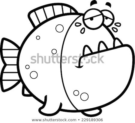 Choro desenho animado piranha ilustração triste peixe Foto stock © cthoman
