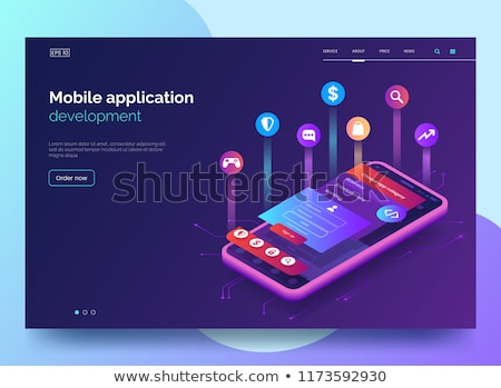 mobile app development   modern colorful isometric vector web banner stock photo © decorwithme