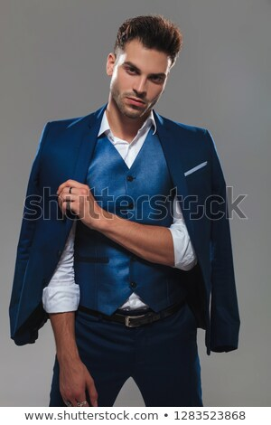 Foto stock: Retrato · cavalheiro · azul · terno