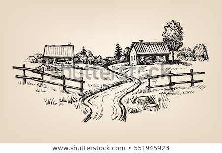 countryside rural landscape with village house sketch of countr stock photo © terriana