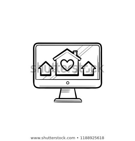 Bilgisayar monitörü evler ev kalp Stok fotoğraf © RAStudio