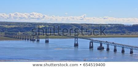 Stok fotoğraf: Uzun · asma · köprü · nehir · manzaralı · ada · Quebec