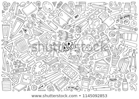 huis · penseel · illustratie · cartoon · karakter - stockfoto © netkov1