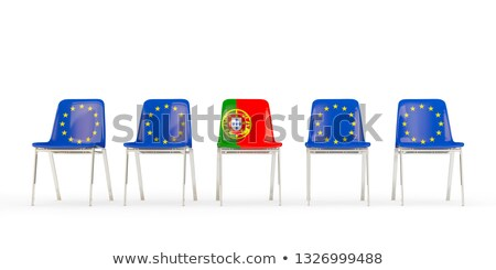 Row of chairs with flag of EU and portugal Stock photo © MikhailMishchenko