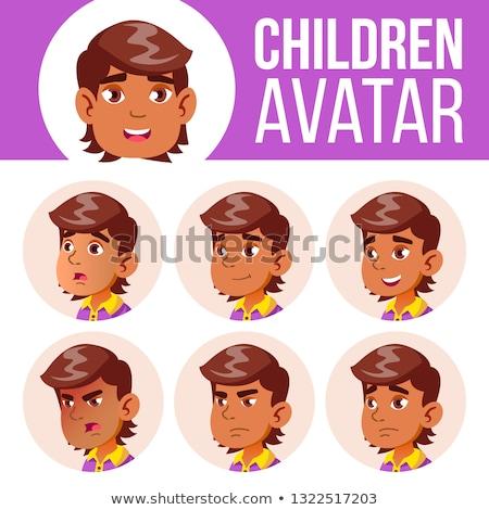 Arab muszlim avatar szett gyerek vektor Stock fotó © pikepicture