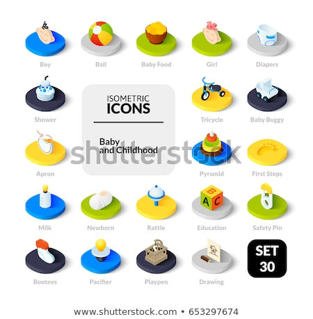 Milk flat isometric icons Stock photo © netkov1