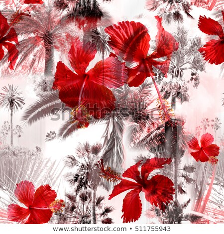 tropcal flowers and palm leaves seamless pattern floral summer stock photo © terriana