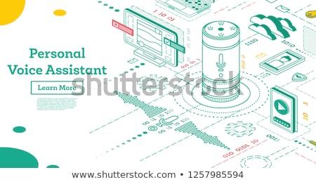 isométrique · voix · assistant · atterrissage · page · puce - photo stock © rastudio