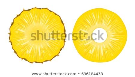 Brilhante realista ananás fatias peças isolado Foto stock © MarySan