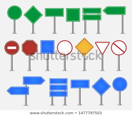 big set green stop signs and traffic sign collection transparent stock photo © cammep