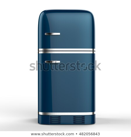 Azul geladeira geladeira 3d render cozinha aço Foto stock © bayberry