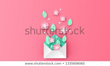Poster dekore edilmiş buket çiçek origami vektör Stok fotoğraf © robuart