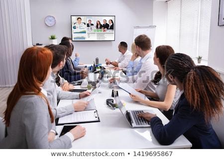 üzletemberek videó konferencia tárgyaló csoport másik Stock fotó © AndreyPopov