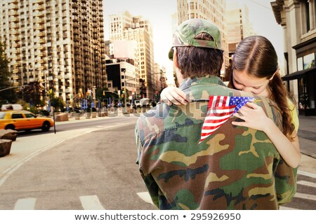 Soldier In Front Of Us Flag Stock photo © AndreyPopov