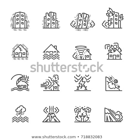 Natural disaster icon set Stock photo © netkov1