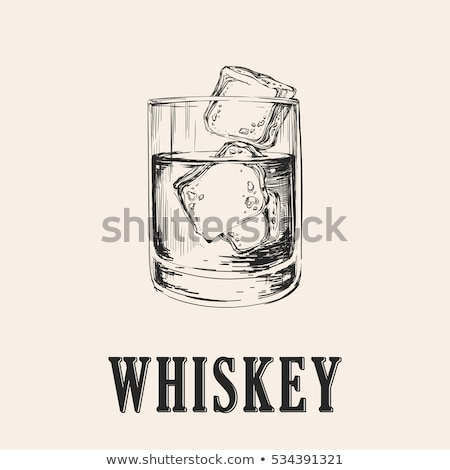 elegance glass with brandy and ice cubes vector stock photo © pikepicture