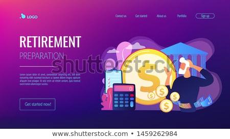 Stok fotoğraf: Retirement Preparation Concept Landing Page