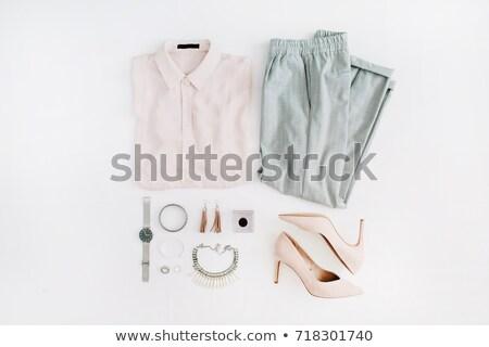 Moda ayarlamak kolye pastel arka eşarp Stok fotoğraf © serdechny