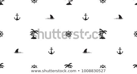 Mariene zeilschip Blauw aquarel lijnen Stockfoto © Artspace
