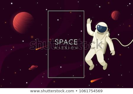 Desenho animado astronauta espaço exterior acima planeta terra foguete Foto stock © Voysla