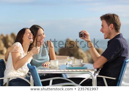 gelukkig · paar · sushi · restaurant · technologie - stockfoto © dolgachov