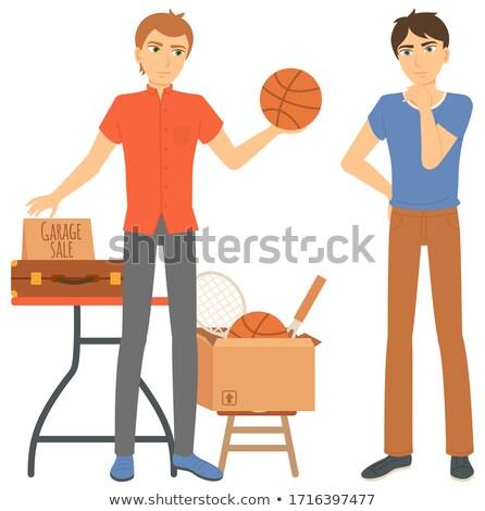 Man verkopen sport vak vector jonge man Stockfoto © robuart