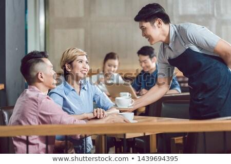 カップル 務め コーヒー カフェ 笑みを浮かべて ストックフォト © Kzenon