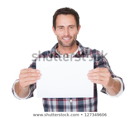 Joyful businessman presenting white blank billboard.  Stock photo © lichtmeister