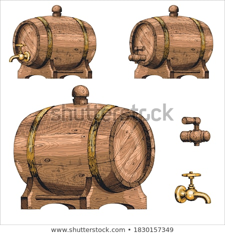 Lying Retro Drawn Wooden Beer Keg Barrel Color Vector Stock photo © pikepicture