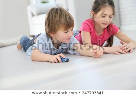 Irmão irmã jogar piso bebê Foto stock © Lopolo