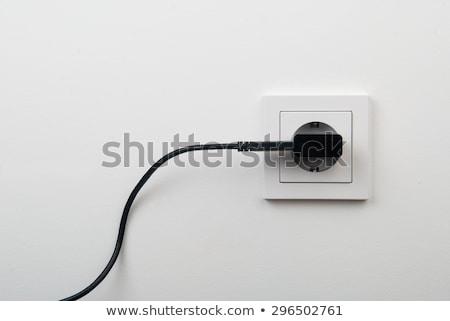 Elektrik kablo soket duvar el adam Stok fotoğraf © papa1266